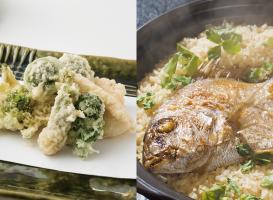 春野菜の天ぷらと鯛ご飯